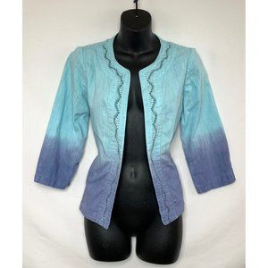CHICO'S 3/4 Sleeve Open Gradient Blue Blazer